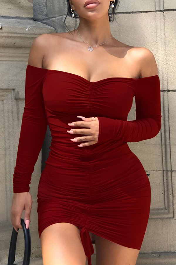 Lovely Sexy Dew Shoulder Wine Red Mini Dress