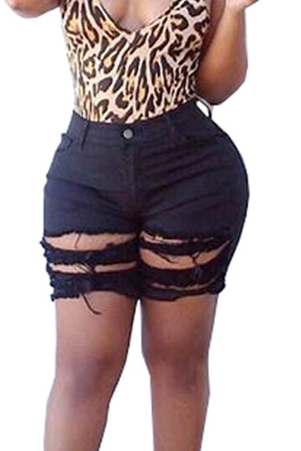 Lovely Chic Broken Holes Black Shorts