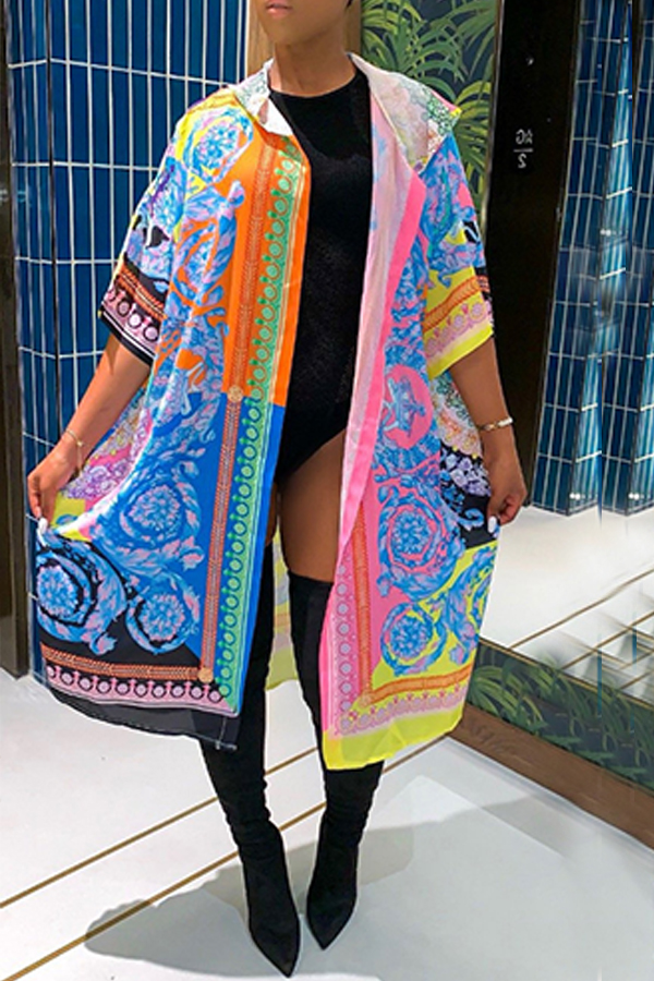 Lovely Casual Printed Multicolor Coat