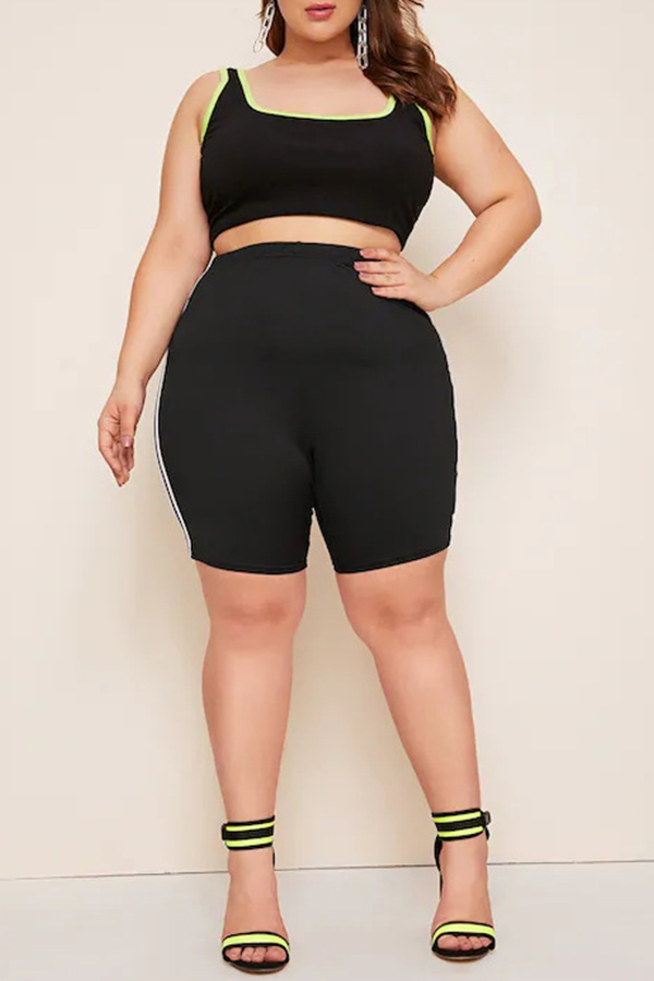 Lovely Casual Striped Patchwork Black Plus Size Shorts