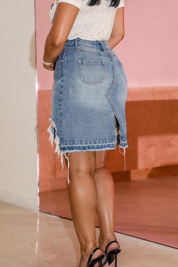 Lovely Trendy Torn Edges Blue Skirts