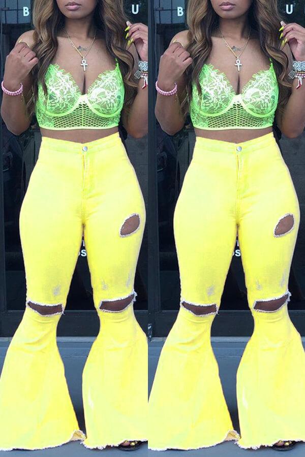 Lovely Casual Mid Waist Broken Holes Yellow Pants