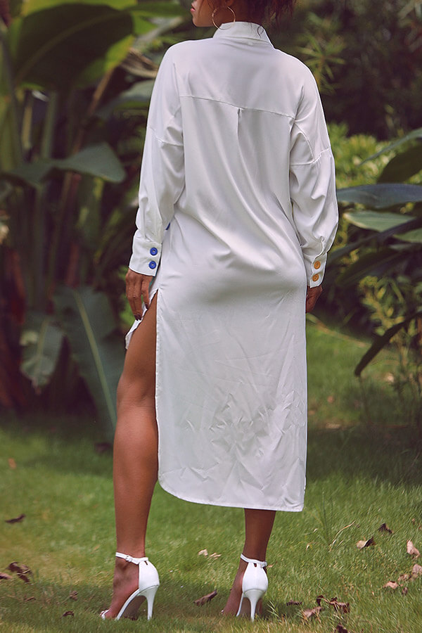 Lovely Casual Turndown Collar Patchwork Asymmetrical White Dress