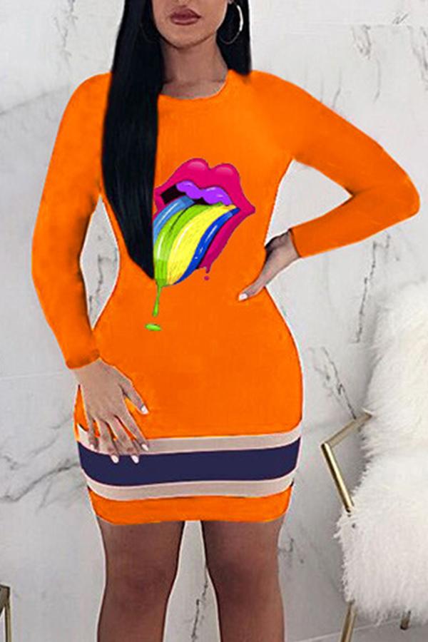 Lovely Trendy Lip Printed Croci Mini Dress
