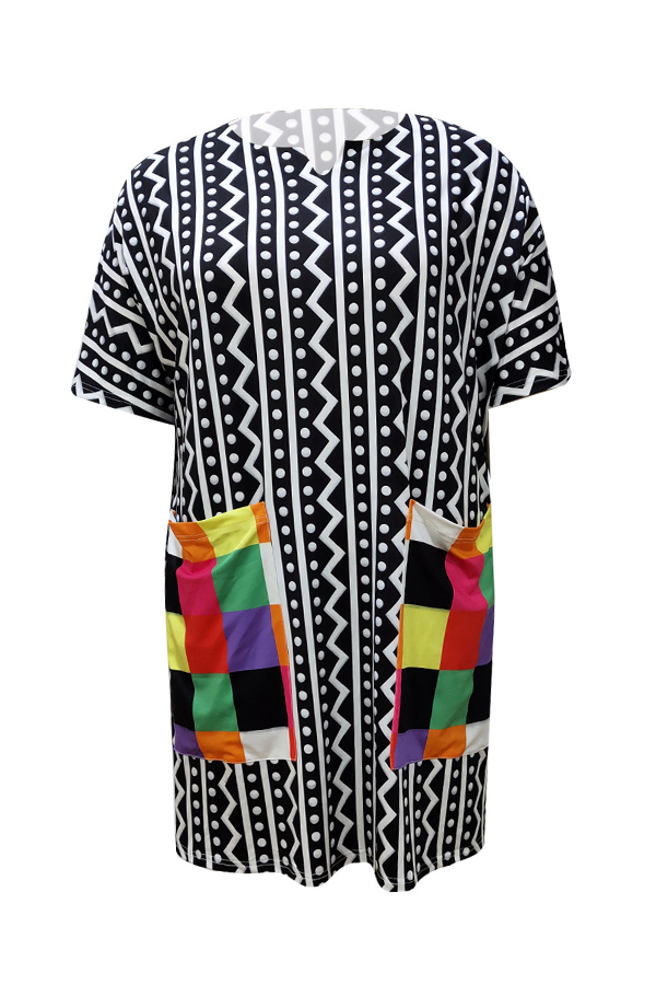 Lovely Casual Geometric Printed Black Knee Length Plus Size Dress
