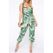 Lovely Stylish Spaghetti Straps Floral Printed Green One-piece Jumpsuit