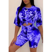 Lovely Casual O Neck Printed Blue Two-piece Shorts Set