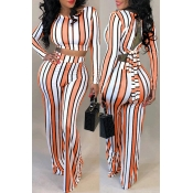Lovely Stylish O Neck Striped Multicolor Two-piece