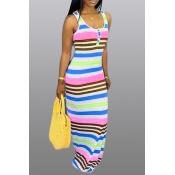 Lovely Casual U Neck Striped Printed Light Pink Floor Length Dress