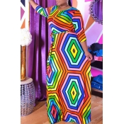 Lovely Casual O Neck Geometric Printed Multicolor