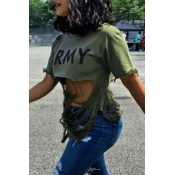 Lovely Sexy Printed Hollow-out Army Green Cotton Blends Shirts