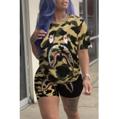Lovely Casual Camouflage Printed Yellow Two-piece