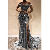 Lovely Elegant Off The Shoulder Sequins Decoration