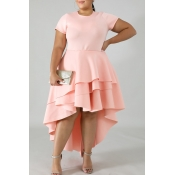 Lovely Stylish O Neck Asymmetrical Pink Knee Lengt