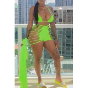 Lovely Hollow-out Green Two-piece Swimwear