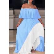 Lovely Stylish Off The Shoulder Patchwork Blue Floor Length Maxi Dress