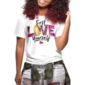 Lovely Casual O Neck Letter Printed Multicolor T-shirt