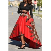 Lovely Stylish High Waist Printed Asymmetrical Red