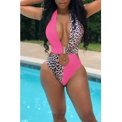 Lovely Hollow-out Patchwork Pink One-piece Swimwea