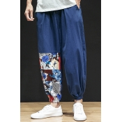 Lovely Casual Printed Patchwork Navy Loose Pants