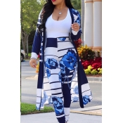 Lovely Stylish High Waist Printed Deep Blue Two-pi