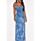 Lovely Party Backless Blue Ankle Length  Prom Dres