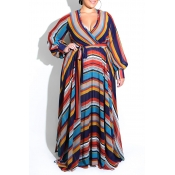 Lovely Bohemian Striped Dark Blue Floor Length Dre