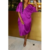 Lovely Casual V Neck Hollow-out Purple Knee Length