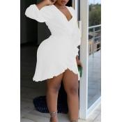 Lovely Sexy V Neck Asymmetrical White Mini Dress