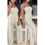 Lovely Sexy Halter Neck Striped Backless Green One
