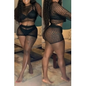 Lovely Sexy Hollow-out Black Two-piece Shorts Set(