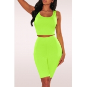 Lovely Casual U Neck Green Two-piece Shorts Set