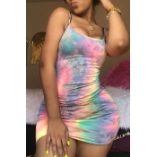Lovely Casual Spaghetti Straps Tie-dye Multicolor