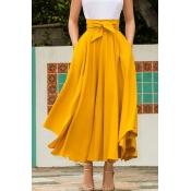 Lovely Sweet High Waist Yellow  Ankle Length A Lin