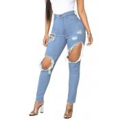 Lovely Stylish High Waist Broken Holes Blue Jeans