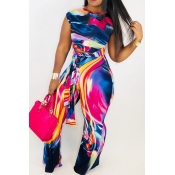 Lovely Casual Print Loose Multicolor Two-piece Pan