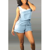 Lovely Casual Spaghetti Straps Baby Blue Denim One