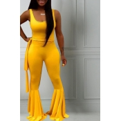 Lovely Casual U Neck Yellow One-piece Jumpsuit