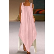 Lovely Casual Square Collar Asymmetrical Pink Ankl