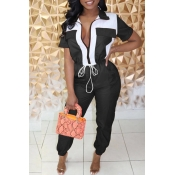 Lovely Stylish Patchwork Black One-piece Jumpsuit