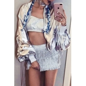 Lovely Casual Long Sleeve Silver Coat