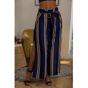 Lovely Stylish High Waist Striped Multicolor Pants