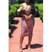 Lovely Stylish Off The Shoulder Striped Multicolor Knee Length Dress