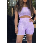 Lovely Casual Off The Shoulder High Waist Purple T