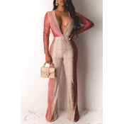 Lovely Chic Gradual Change Printed Red One-piece J