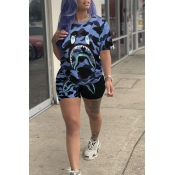 Lovely Casual Camouflage Printed Blue Two-piece Shorts Set