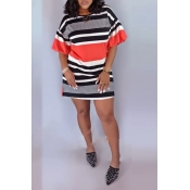 Lovely Casual O Neck Hubble-bubble Sleeve Striped
