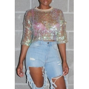 Lovely Casual See-through Multicolor T-shirt(Without Lining)