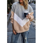 Lovely Color-lump Patchwork Grey Sweater