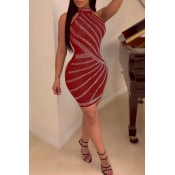 Lovely Casual Sleeveless Hot Drilling Decorative Red Mini Dress